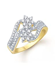 Meenaz Impressive Double Flowers Gold And Rhodium Plated Cz Ring FR109 For Women