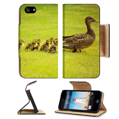 Animal Wildlife Duck Baby Cute Quack Mother Bird Apple Iphone 5 / 5S Flip Cover Case With Card Holder Customized Made To Order Support Ready Premium Deluxe Pu Leather 5 3/16 Inch (132Mm) X 2 11/16 Inch (68Mm) X 9/16 Inch (14Mm) Luxlady Iphone 5 Profession front-1065084