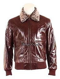 AIR FORCE\' Men\'s BROWN BLACK Fur Collar Aviator BOMBER Real Nappa Leather Jacket (L, BROWN)