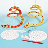 Dragon Spiral Card Mobiles for Children to Paint, Decorate & Display (Pack of 10)