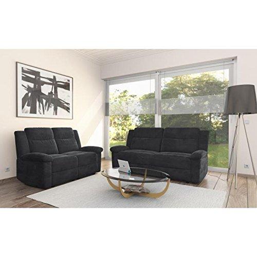 Relaxo ensemble de 2 canapés fixes - 1 canapé 2 places + 1 canapé 3 places - microfibre - noir