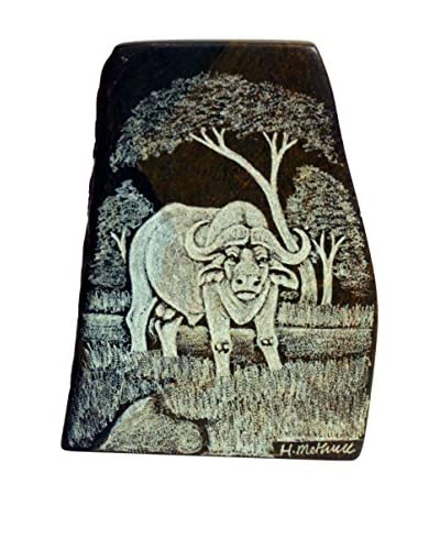 Asian Loft Hand-Carved Water Buffalo Verdite Stone, Green/White