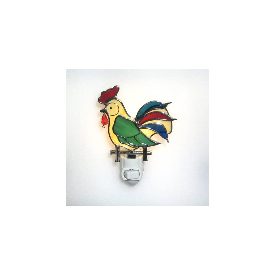Stained Glass Rooster Night Light with a Light Sensor Nightlight Base