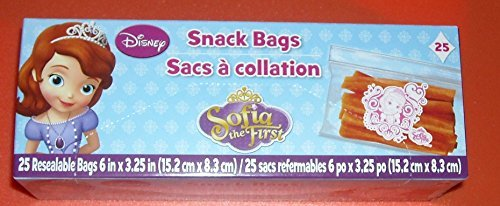 Disney Sofia the First Snack Bags - 25 Resealable Bags