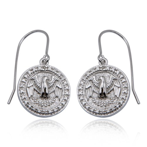 Platinum Plated Sterling Silver Genuine Diamond Accent Wire Earrings