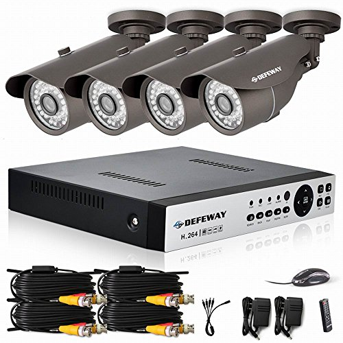 4 Ch Security  Monitor Camera System 1080P Wired DVR FULLHD IR-CUT HOME CCTV Kit