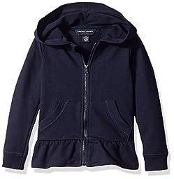 French Toast Girls\' Toddler Ruffle Bottom Knit Jacket, Navy, 2T