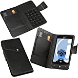 ITALKonline LG E900 Optimus 7 Black Super Slim PU Leather Executive Multi-Function Wallet Case Cover Organiser Flip with Credit / Business Card Holder - Suction Pad Design