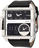 Diesel Watches Men's SBA Ana-Digi Black Dial Watch (Black/Blue)