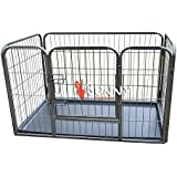 BUNNY BUSINESS Heavy Duty Puppy Play Pen/ Rabbit Enclosure with Plastic Floor, Small, 93 x 63 x 61 cm, Gunmetal Grey