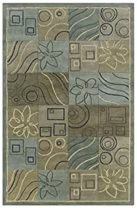 Rizzy Rugs CF-0806 8-Foot-by-8-Foot Round Craft Area Rug, Transitional Light Blue