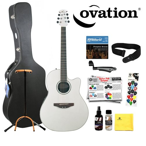 Ovation CC24-6PH Pearl White Acoustic-Electric Guitar with DPS/Planet Waves 16 Pick Sampler DAddario EJ16 Strings Planet Waves DP0002 String Winder Ultra Stand PWS100 Strap Planet Waves Care Kit MBTAGCW1 Hard Case