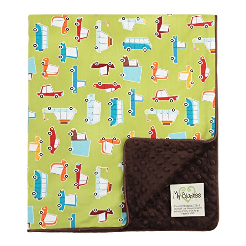 "My Blankee Road Trip Organic Cotton Lime Green w/ Minky Dot Brown Baby Blanket, 30"" X 35"""