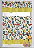 Beautiful 3pcs Printed Kitchen Curtain Set! (Lemon)