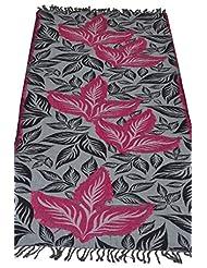 Elabore Women's Ritzy Jamawar Stole - Grey & Red & Black