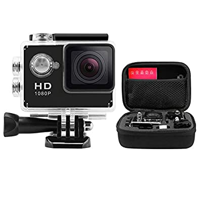ANART® HD Sports Action Camera Black 2.0 Inch 140 Wide Angle Degree Waterproof Underwater Mini Helmet Action Cam Camcorder Shockproof Carrying Bag