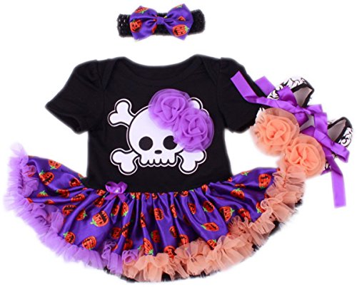 TANZKY ® Baby Girls' Halloween Skull Pirate Tutu Dress 1st Birthday Onesie
