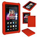 TECHGEAR® Bumper Case for Amazon Fire HD 7 (2014 Edition / 4th Gen / HD7) Rugged Heavy Duty Anti-Shock Rubber Protective Case with Added Corner & Edge Protection and Easy Grip Design + Screen Protector [RED] - Kids & School Friendly Case