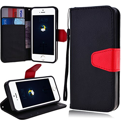 iPhone 5 5S Case, iPhone SE Case, SmartLegend PU Leather Wallet Case, Flip Folio Stand Cover with [Card Slots] [Cash Pocket] [Magnetic Closure] [Lanyard] Pure Color Holster for iPhone 5/5S/SE (Black) (Iphone 5s Body Space Gray compare prices)