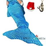 """Kpblis174;Knitted Mermaid Blanket Tail for Kids and Adults,Super Soft and Fashion Sleeping Bags 75""""31""""(Blue)"""