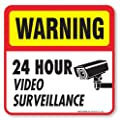 "(4 Pack) 24 hour Video Surveillance Sign/Decal Self Adhesive "" 5½ X 5½"" 4 Mil Vinyl Decal - Indoor & Outdoor Use - UV Protected & Waterproof - Sleek, Rounded Corners"