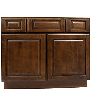 Everyday Cabinets 42 Inch Bathroom Vanity Single Sink Cabinet In Juniper Chestnut With Soft