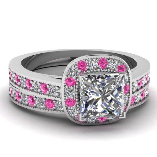 Sale 1.10 Ct Princess Cut Diamond & Pink Sapphire Halo Wedding Rings Set W Milgrain VS2 14K