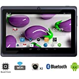 "Tagital® T7X 7"" Quad Core Android 4.4 KitKat Tablet PC, Bluetooth, Dual Camera, Google Play Store Pre-installed, 3D Game Supported, 2015 Newest Model- Black"