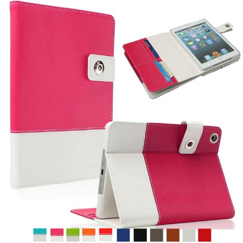 SAVEICON Pink Hybrid PU leather Case Cover with Card Slots Auto Wake / Sleep Smart Cover Book Shell Stand for Apple New iPad Mini 7.9 Inch Wifi 3G 4G LTE with Built-in Stand