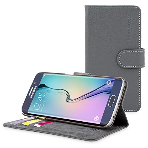 英国Snugg社 Galaxy S7 Edge用 PUレザー手帳型ケース 生涯補償付き(Samsung Galaxy S7 Edge用, グレー)