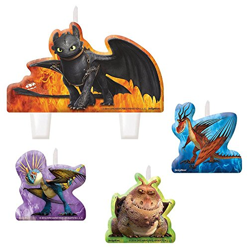 Amscan How to Train Your Dragon 2 Birthday Party Molded Candle Set (4 Piece), Multi