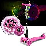 Fascol� Freestyle Plegable Patinete para ni�os entre 3 y 9 a�os + + rodillera, ABEC-7 Cojinetes, Grandes ruedas de poliuretano [rosa]