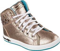 Skechers Girls\' Shoutouts Zipsters High Top,Gold,US 4 M