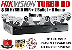Combo Kit Of Hikvision 8 Ch Triple Hybrid Turbo Hd Dvr + 2 Bullet + 6 Dome Camera (Ds-7208Hghi-Sh, Ds-2Ce16C2T-Ir, Ds-2Ce56C2T-Irb)