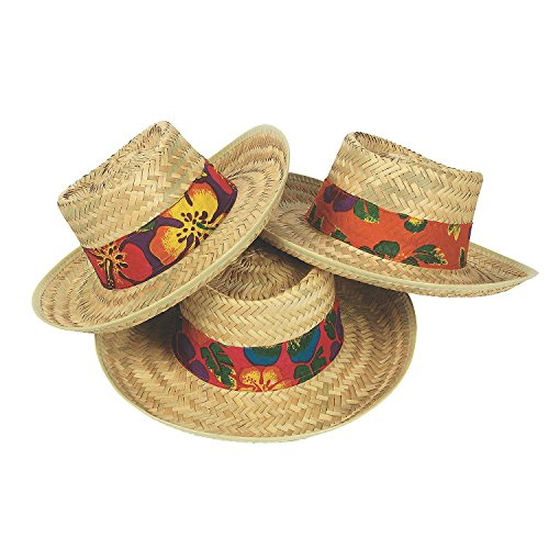Adult Straw Beach Hats with Hibiscus Print Bands Straw Hat (1 per package)