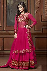 Bollywood Rimi Sen Georgette Party Wear Suit in Pink Colour