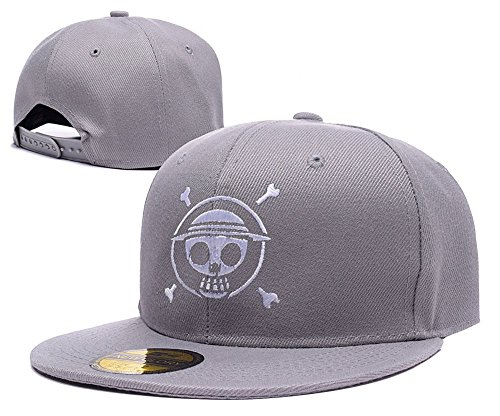 dongf-one-piece-luffy-logo-adjustable-snapback-caps-embroidery-hats-grey