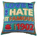 Evans Lichfield 17-inch K/E Marmite Since 1902 Cushion, Teal