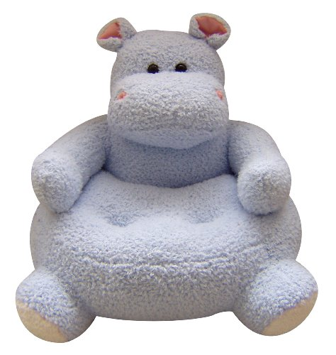 23 x21 easter plush animal chair hippo design light blue for Small stuffed chairs