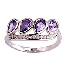 buy Psiroy 925 Sterling Silver Fashion Exquisite Tear Drop Amethyst Twisted Band Gemstone Filled Ring