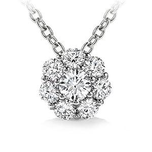 1.00 ct Ladies Round Cut Diamond Pendant / Necklace in 14 kt White Gold