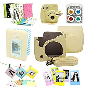 Fujifilm Instax Mini 8 Instant Camera Accessory Bundles Set (Included: Cream Mini 8 Vintage Case Bag/ Cream Instax Mini Book Album / Yellow Rabbit Design Mini 8 Close-Up Lens(Self-Portrait Mirror)/ Colorful Close-Up Lens For Mini 8/ Wall Decor Hanging Frame/ 3 Inch Photo Frame/ Colorful Decor Sticker Borders)