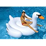 """Swimline 90621 Swimming Pool Kids Giant Rideable Swan Inflatable Float Toy 75"""""""
