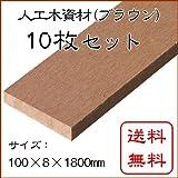 JJウッド 人工木材 006断面規格 100×8mm ブラウン 1800mm <10枚セット>