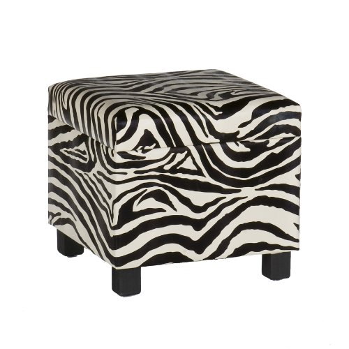 Southern Enterprises, Inc Zebra Faux Leather Storage Ottoman