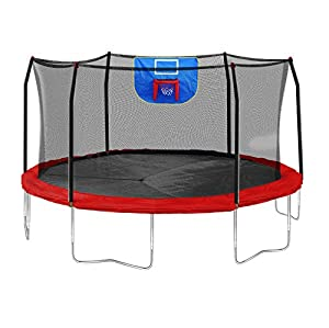Skywalker Trampolines Jump N' Dunk Trampoline with Safety Enclosure and Basketball Hoop, Red, 15-Feet