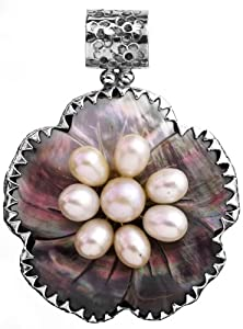 Abalone Pendant with Pearl - Sterling Silver