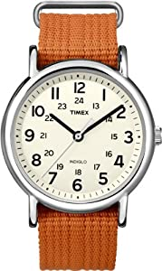 Timex Unisex T2N745 Weekender Slip Thru Orange Nylon Strap Watch
