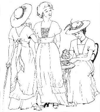1890s-1905 Edwardian Gibson Girl Era Clothing Links 1910s Tea Gown Pattern                               $19.95 AT vintagedancer.com