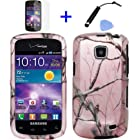 4 items Combo: Mini Stylus Pen + LCD Screen Protector Film + Case Opener + Pink Pine Tree Leaves Camouflage Outdoor Wildlife Design Rubberized Snap on Hard Shell Cover Faceplate Skin Phone Case for Straight Talk Samsung Galaxy Proclaim 720C SCH-S720C / Verizon Samsung Illusion i110